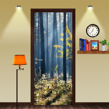 3D Blue Misted Forest Door Wall Mural Photo Wall Sticker Decal Wall Wallpaper
