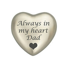 Always In My Heart Dad Silver Coloured Heart Urn Keepsake for Ashes Cremation