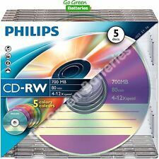 5 x Philips CD-RW Blank Rewritable Discs 80 Mins 700MB 4-12x Speed Plastic Cases