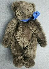 Vermont Teddy Bear Company Dark Brown Bear Fluffy With Blue Bow Jointed Soft