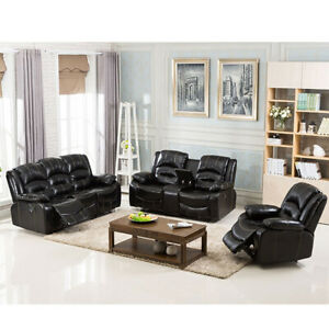 3 Pcs Leather Sofa Set Living Room Recliner Modern High Quality Home Decor