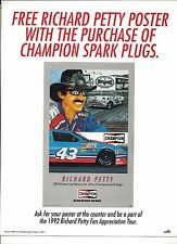 1992 RICHARD PETTY ADVERTISEMENT FOR FREE POSTER