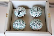 Casa DeCor Green Teal Grey White Raised Dots Cabinet Drawer Pull Knobs S/4