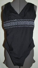 Swimsuit  ONE PIECE Croft Barrow SIZE 8 BLACK gray ribbed elastic waist