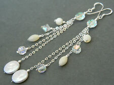 Vintage AB Crystals, MoP & FW Pearls & Silver ~ Alex Polizzi Style Long Earrings