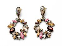 E707 Betsey Johnson  Brown Gemstone Rhinestone Bridal Banquet  Earrings  UK