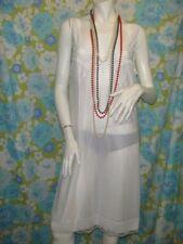 "vintage full slip 44"" bust white satin 80s lace trim wide straps volup size 20"