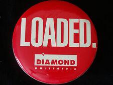 "Large Diamond Multimedia LOADED Pin Badge Pinback Round 3"" Red/White Logo EUC"