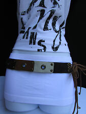 NEW CHIC WOMEN BROWN WHITE FAUX SUEDE LEATHER MULTI HOLE TIE FASHION BELT M L