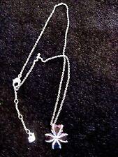Swarovski Swan Signed Light Purple Heart Flower Silver Tone Crystal Necklace 447