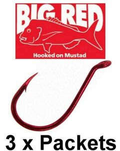 3 Packets of Mustad Big Red 92554NPNR Chemically Sharpened Suicide Hooks