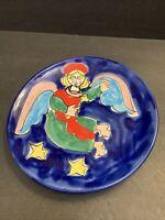 "VTG La Musa Italian Art Pottery Christmas Angels Stars Plate Cubist Platter 10"""