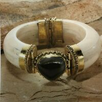 New Tara Mesa Black Agate & Ivory Color Bone Bangle Bracelet