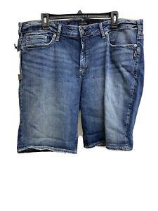 NWT Womens Silver Jeans Elyse Bermuda Curvy Shorts Mid Rise Denim Sz 18x9