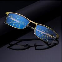 Brush Metal Multifocal Progressive Photochromic Reading Glasses Near Far
