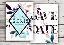 PERSONALISED BRIGHT FLORAL WATERCOLOUR SAVE THE DATE CARDS (PACKS OF 10)