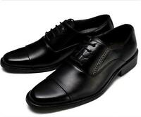 Mens Oxford Dress Formal Casual Pointy Toe Lace Up Cuban Heel Business Shoes