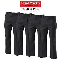 Mens Hard Yakka Permanent Press Double Pleat Pants 4 PACK Trouser Work Y02592