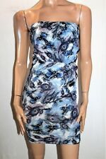 MDS Brand Blue Queeen Of Peacock Strapless Dress Size M BNWT #TM49
