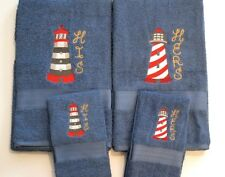 HIS and HERS embroidered  Lighthouses 4 piece bath towel set