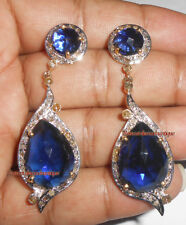 2.10ct ANTIQUE ROSE CUT DIAMOND SILVER SAPPHIRE DANGLE WEDDING VINTAGE EARRINGS