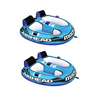 Airhead Mach 2 Inflatable 2 Rider Cockpit Lake Water Towable Tube, Blue (2 Pack)