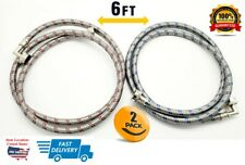 Stainless Steel Washing Machine Hoses w/ 90 Degree Elbow Color Coded 6 FT