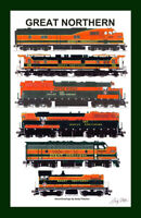 """Great Northern Locomotives 11""""x17"""" Poster in 12""""x18"""" mat Andy Fletcher signed"""