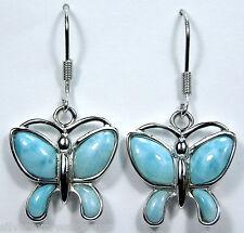 Beautiful Natural  AAA  Larimar 925 Sterling Silver Butterfly Dangle Earrings