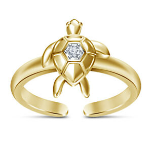 14K Yellow Gold Finish Silver Diamond Turtle Adjustable Toe Ring For Womens
