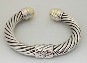 David Yurman 10mm Hinged Cable Cuff Bracelet Silver & 14K Gold Dome End Caps