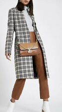 RIVER ISLAND Cream check knit longline coat SIZE UK 10 / EUR 36