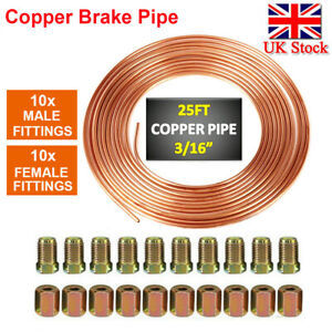 "Copper Steel Nickel Kunifer Brake Line Pipe 25ft Roll 3/16"" Metric 20pcs Fitting"