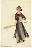 012121 VINTAGE  PRETTY LADY POSTCARD CANOEING GIRL 1908 P CORDON