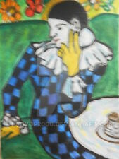 ACEO The Blue Harlequin after Pablo Picasso blue clown miniature Aceo art print