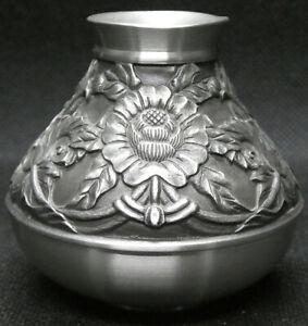 Royal Selangor Pewter Squat Bud Vase with Flower Design