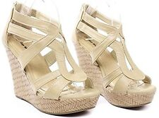 Gladiator Cut Out Platform High Heel Wedge Strappy Open Round Toe Sandals Shoes