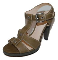COACH Ginger T-Strap Taupe Leather Sandals Heels womens 7 B New