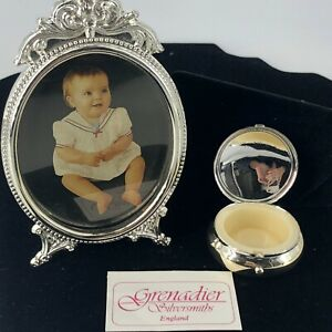 Vintage Baby Tooth box and Picture Frame Set Grenadier Silversmiths of England