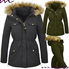 NEW WOMENS LADIES WINTER COAT FUR COLLAR HOODED JACKET PARKA SIZE 8 -16 COAT BAR
