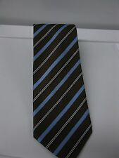 Canali Men's Brown Blue Striped 100% Silk Neck Tie Made in Italy