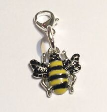 Manchester Worker Bee Zip Charm Zipper Clip-On Handbag Bracelet Enamel Silver