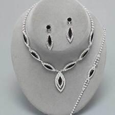 Jet Black Diamante Necklace Bracelet Earring Set Sparkly Prom Jewellery 0217