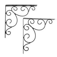 Pair Decorative Shelf Bracket Wall Shelf Corner Brace Book Shelf 8inch Black