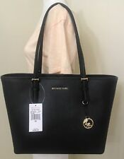 Michael Kors Jet Set Travel Medium Saffiano Leather Carryall Tote in Black