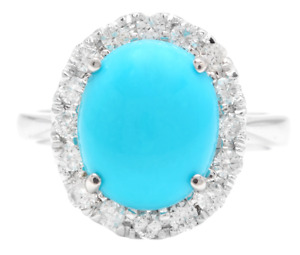 7.65 Carats Natural Turquoise and Diamond 18K Solid White Gold Ring