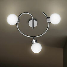 WOFI lámpara de techo APOLLO 3 llamas Níquel Cristal Bola Blanco Ajustable 27