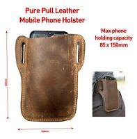 Genuine Pull Leather Mobile Phone Holder Waist Belt Holster Case