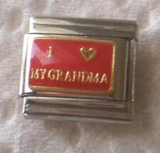 """I LOVE MY GRANDMA""ON RED  ITALIAN 9MM CHARM-GRANDMOTHER, GRANDCHILDREN"