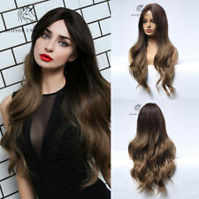 Women Ombre Brown Long Full Wavy Synthetic Wigs Curly Natural Hair Wigs Party